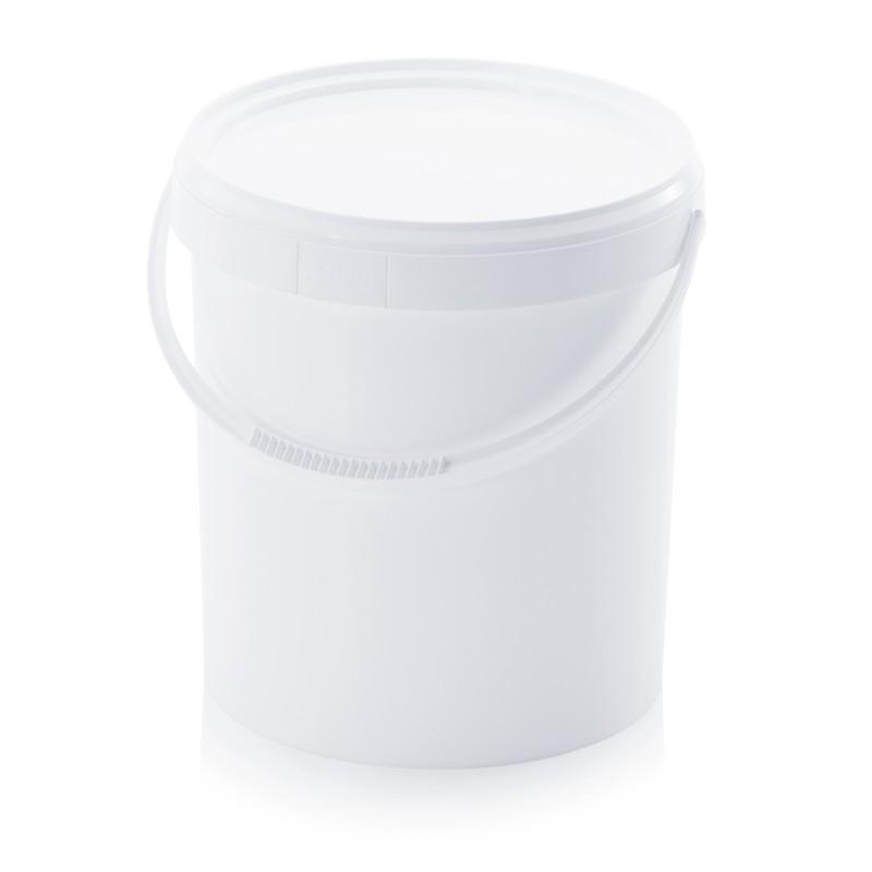 Кръгла пластмасова кофа 20л с пластмасова дръжка и капак