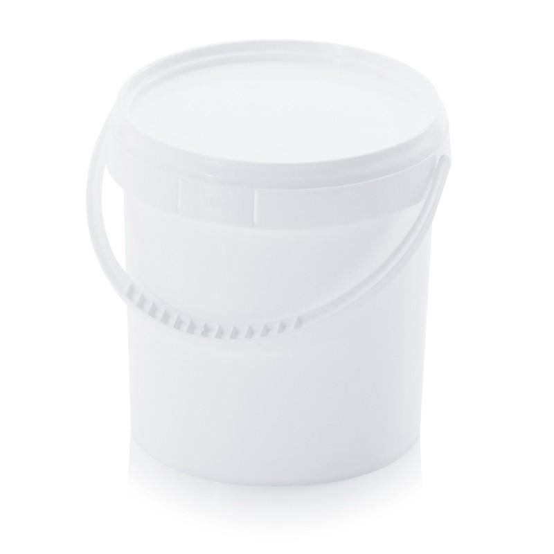 Кръгла пластмасова кофа 1,18л с пластмасова дръжка и капак