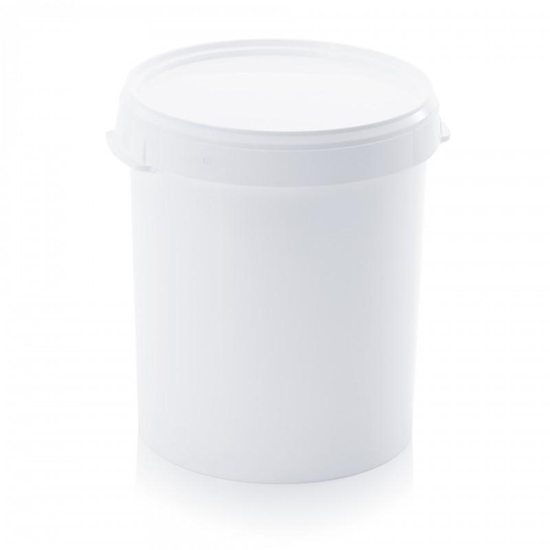 Кръгла пластмасова кофа 32л с пластмасов капак, без дръжка
